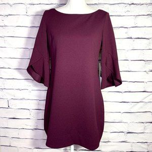 Vince Camuto Burgundy Tulip Bell Sleeve Dress NWT